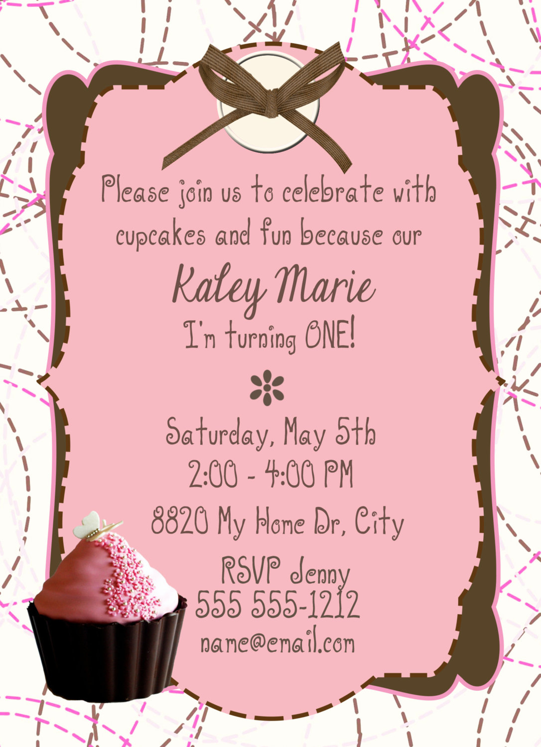 Birthday Invitation-Birthday Card- Cupcake Party - 5 X 7 -1 Sided ...