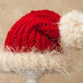 Christmas-Holidays-Santa Hat-Knitted Santa Hat especially for those special Christmas Photos! Great Photo Prop